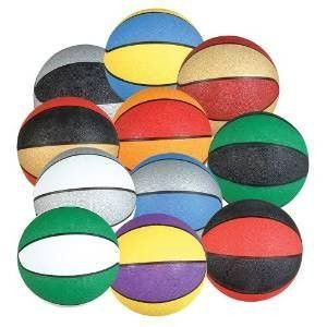 (1-Piece) Assorted Multi-Color 9.5 Regulation Size Outdoor/Indoor Rubber Basketball by PlayTime