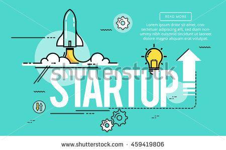 Start up, Line flat design banner for website page, Modern vector illustration.