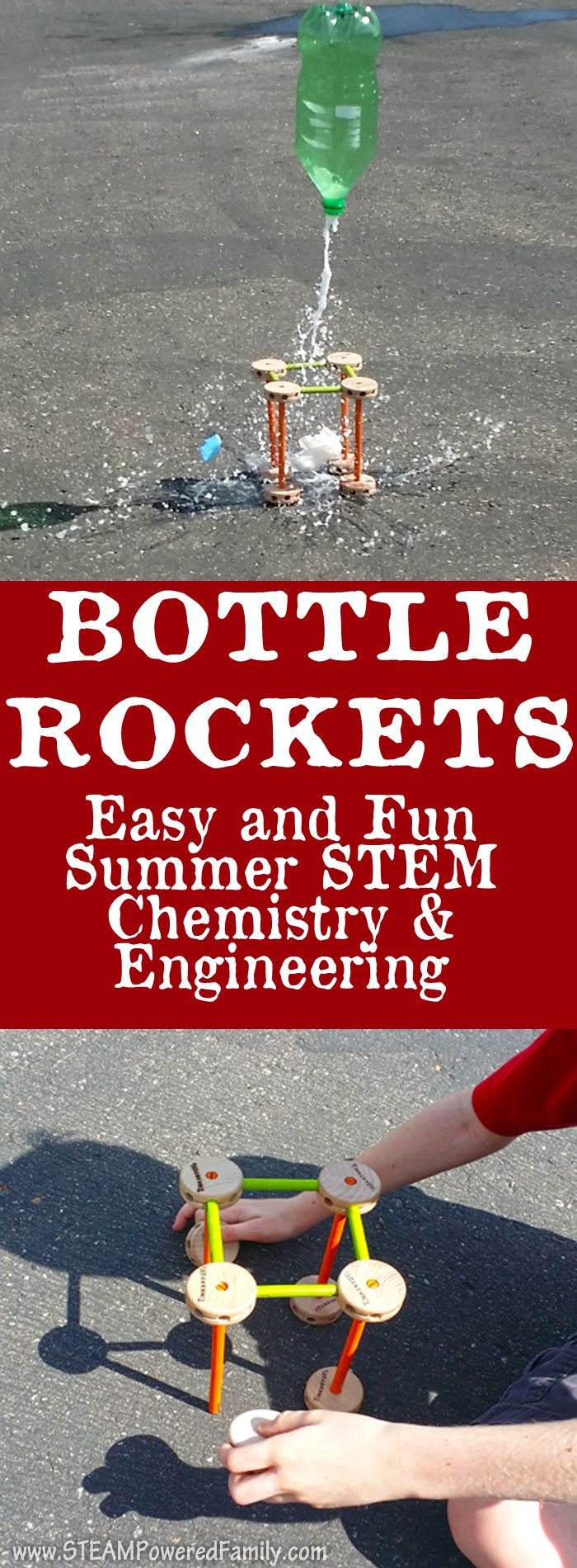 Bottle Rockets - Simple and Fun Summer STEM with Chemistry and Engineering via @steampoweredfam