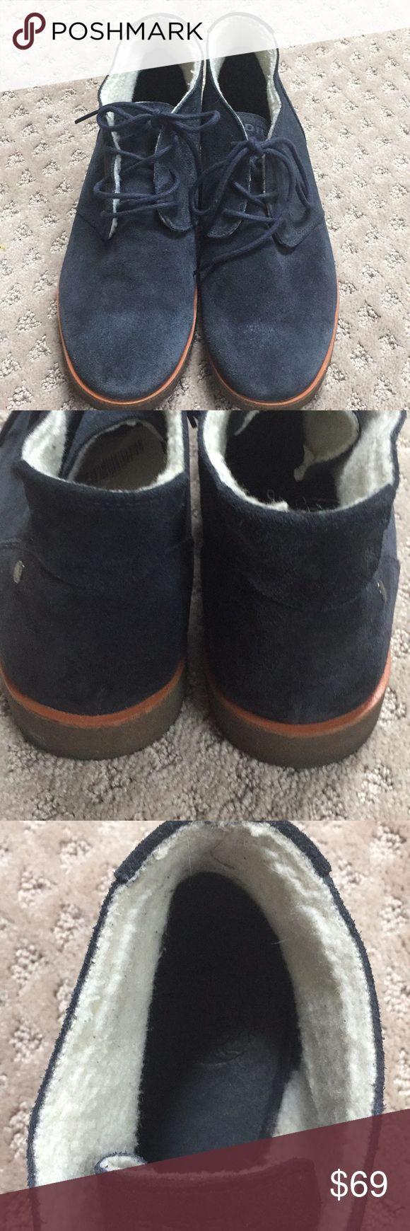 Diesel Chukka Navy blue suede with fleece lining. Have plenty of life left to enjoy. Size 12 Diesel Black Gold Shoes Chukka Boots