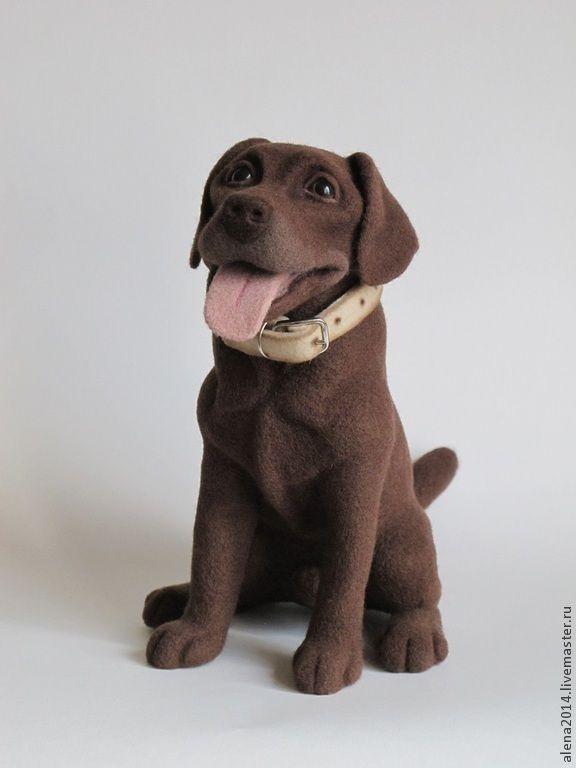 Ману - коричневый,собака,собака игрушка,собака из шерсти,лабрадор,подарок