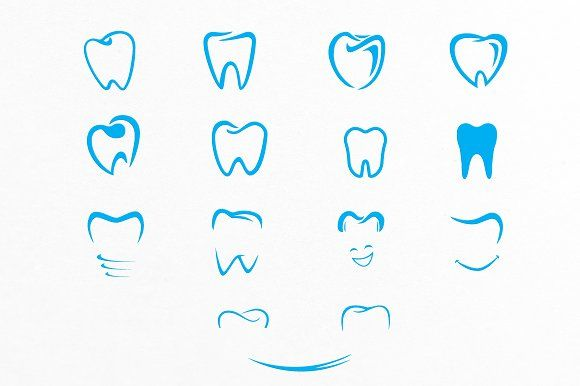 Tooth Shapes For Dental Care Logos by lovepower on @creativemarket