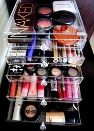 makeup organization. love it. I use a pretty fabric desk drawer organizer now from Target, but I would've bought this instead if I saw it!!