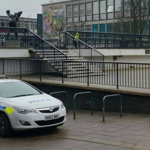 Police in Stevenage town centre where it is alleged a 14-year-old girl was raped on Friday night. Two men have since been charged.