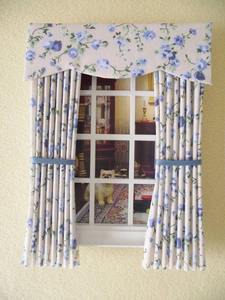 Miniature Doll House Miniature Curtains Drapes Cream Blue Floral 12cm | EBay