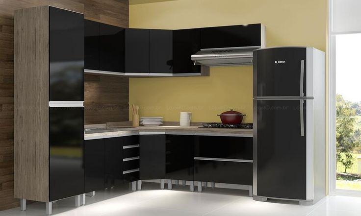 Cozinha Modulada Completa com 9 Módulos Amêndoa/Preto - Morata