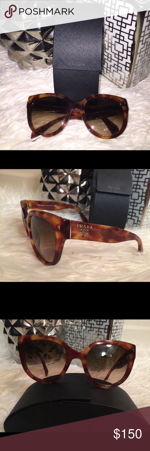 Prada Sunglasses 100% Authentic EXCELLENT condition Prada Sunglasses tortoise color comes with cloth and case Prada Accessories Sunglasses