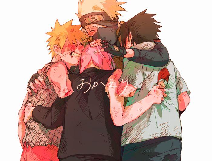 NARUTO, Hatake Kakashi, Uchiha Sasuke, Uzumaki Naruto, Haruno Sakura Group hug
