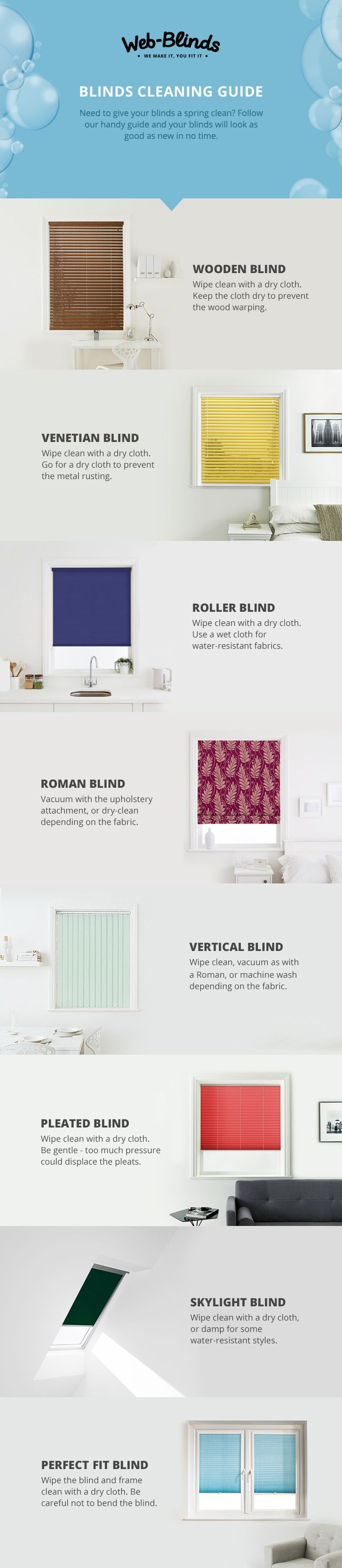 Need to clean your blinds? Whether you've a Roller or a Roman, a Venetian or a Vertical, take a look at our top tips to get yours looking as good as new!