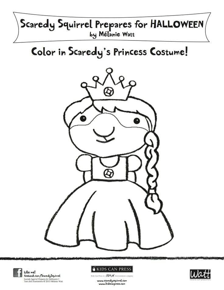 Color in scaredy s princess costume scaredy squirrel for Scaredy squirrel coloring pages