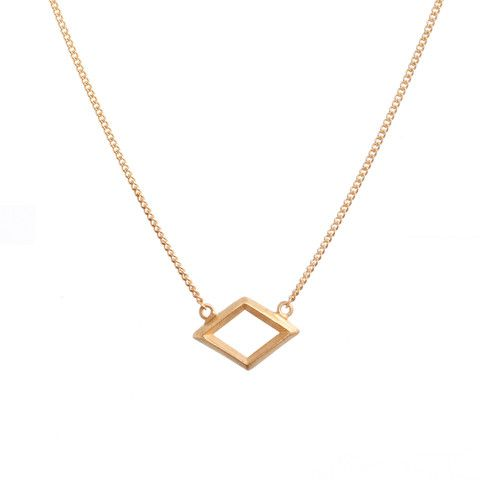 Large Rhombus Necklace Gold - WINBERG Minimalistic Jewellery from Copenhagen Denmark by Lea Winberg