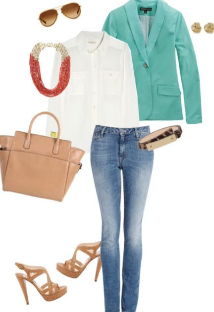 Turquoise, White, Nude, Orange, Gold, Jeans Outfit Mint Blazer Outfit #1:  Casual Friday