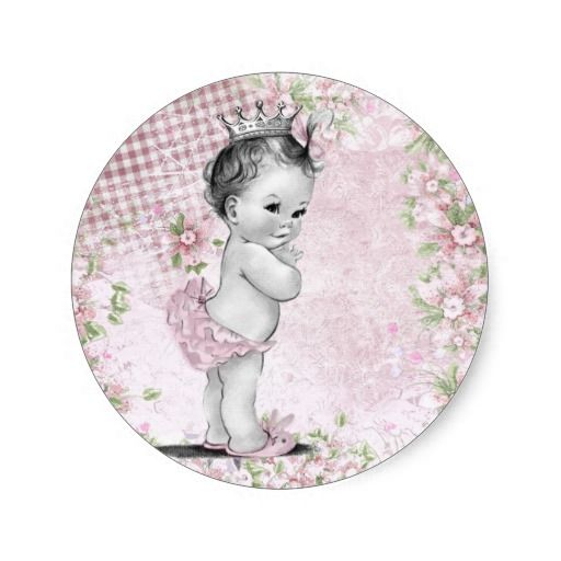 Vintage Pink Princess Baby Shower Stickers! Make your own sticker more personal to celebrate the arrival of a new baby. Just add your photos and words to this great design.