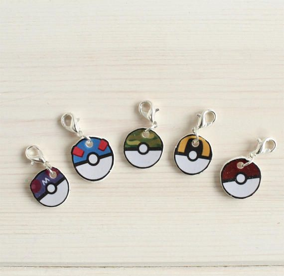 Pokemon themed stitch markers for knitting and crochet projects