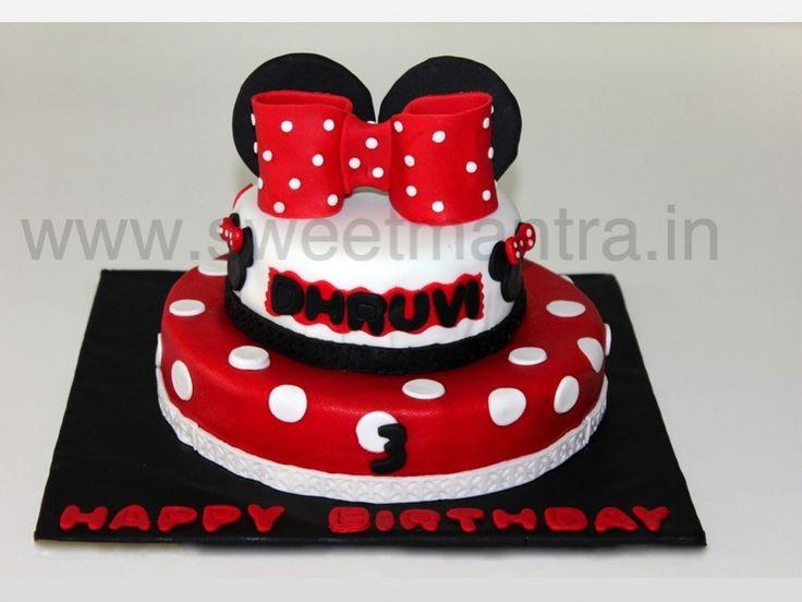 Homemade Eggless 3D/Custom 2 tier Disney Minnie theme 3rd birthday cake for girl at Pashan, Pune
