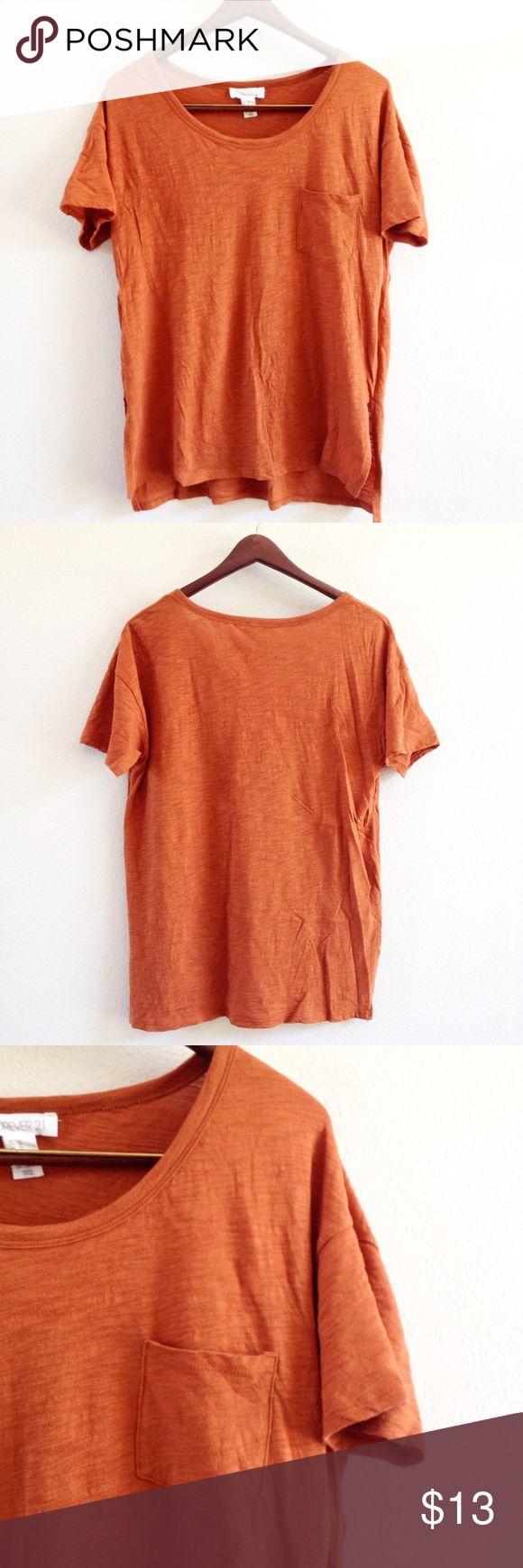 "FLASH SALE burnt orange tee offers welcome size medium burnt orange t shirt with pocket. bust: 21"", front length: 24"", back length: 26.5"".  •460045•  instagram: @xomandysue Forever 21 Tops Tees - Short Sleeve"