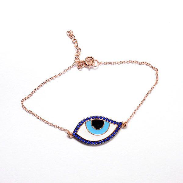 Βραχιόλι μάτι ροζ επιχρυσωμένο  ασήμι 925  4514
