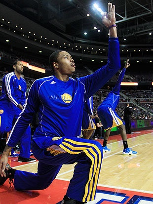 """""""Warriors rookie Kent Bazemore's bench celebrations are great"""" by Dan Devine, Yahoo! Sports Ball Don't Lie"""