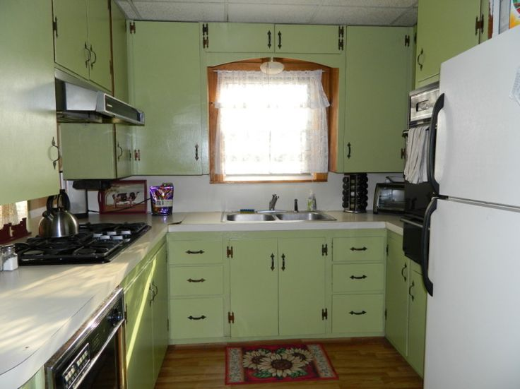 Green Kitchen Cabinets Painted Small Green Kitchen