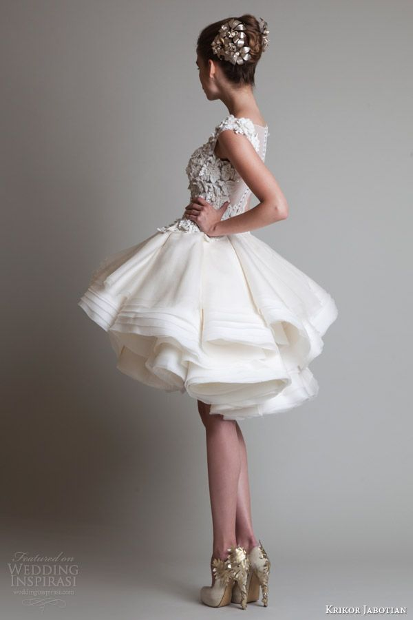 krikor jabotian fall 2013 couture sleeveless short wedding dress back view