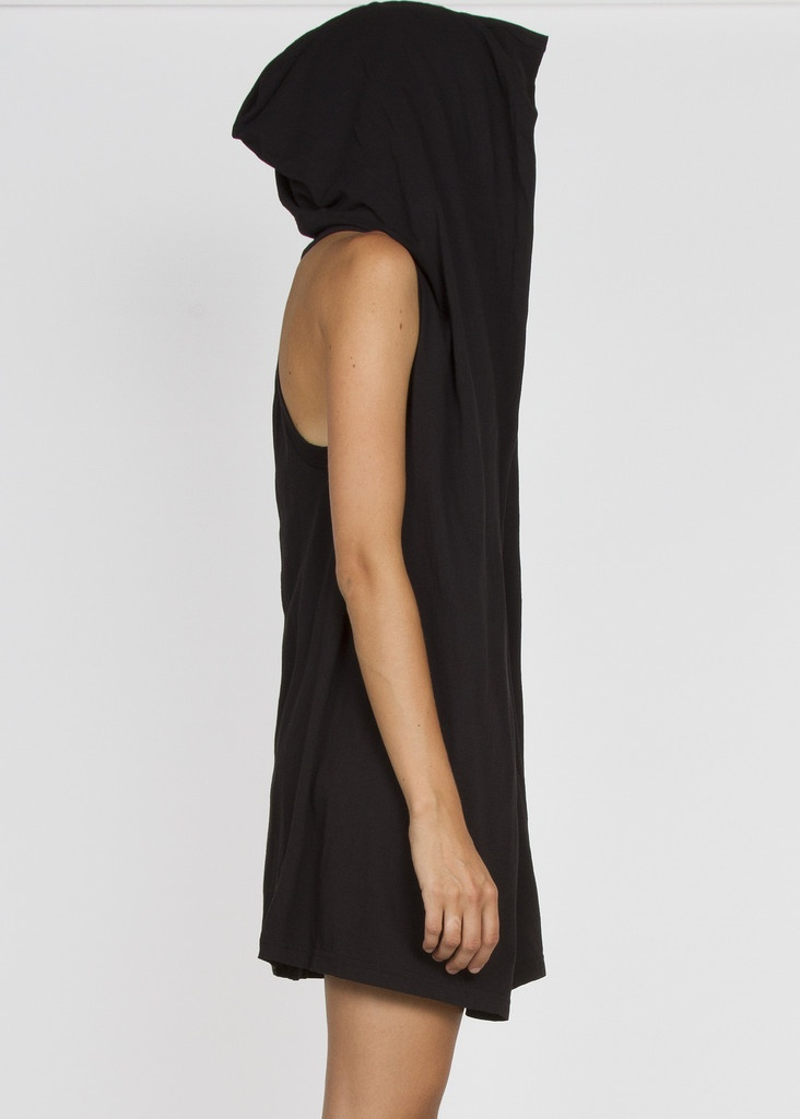 convertible clothing & Sustainable fashion - convertible-clothing that does double duty - square hood tank - black