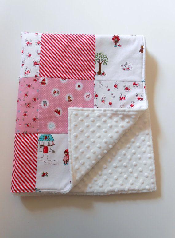 Minky Patchwork Baby Girl Blanket Quilt Riley Blake Little Red Riding Hood Red White--Made to Order