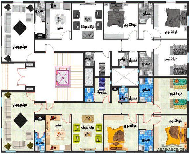 تصاميم عمارة سكنية نمط سعودي طايقين و ملحق 5 شقق Arab Arch Floor Plans Diagram