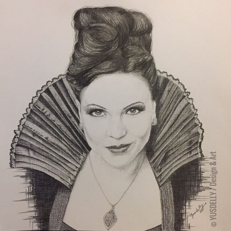 Illustration • the evil queen lana parrilla • once upon a time • pencil drawing