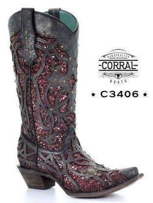 f7dbfb2c3e68 Corral Black Plum Glitter Inlay and Studs Snip Toe Boots C3406 Picture