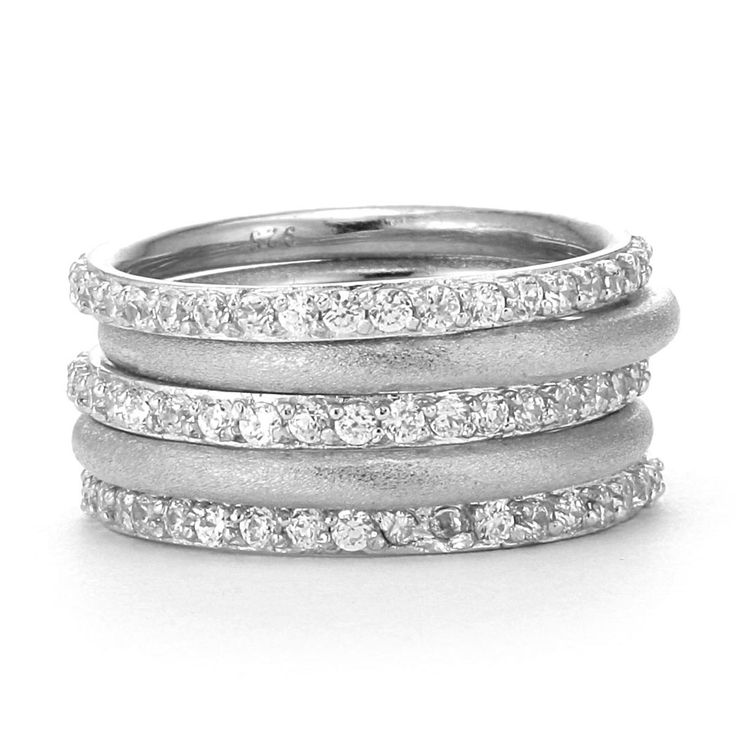 SusanB.Designs Simulated Diamond Stackable Bands Set of 5 ...