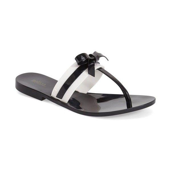 Women's Melissa 'Garota' Slide Flip Flop ($55) ❤ liked on Polyvore featuring shoes, sandals, flip flops, melissa flip flops, bow flip flops, bow sandals, melissa sandals and melissa footwear