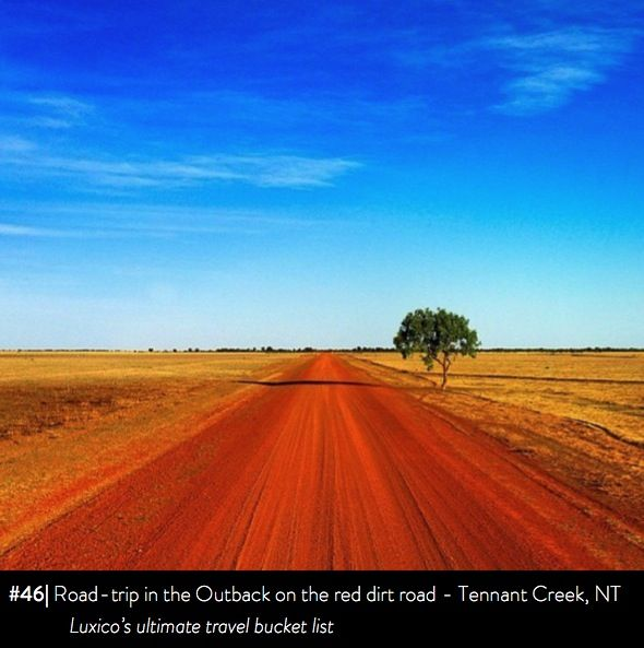 Road-trip in the Outback on the red dirt road, Tennant Creek, NT - Luxico's ultimate travel bucket list #46