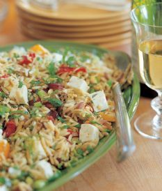 Orzo with Roasted Vegetables...very tasty! The basil adds a flavor that reminds me of Thai food! YUM