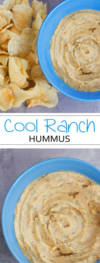 Homemade hummus recipe that tastes surprisingly like Cool Ranch Doritos! Recipe link: http://chocolatecoveredkatie.com/2015/05/28/cool-ranch-hummus/