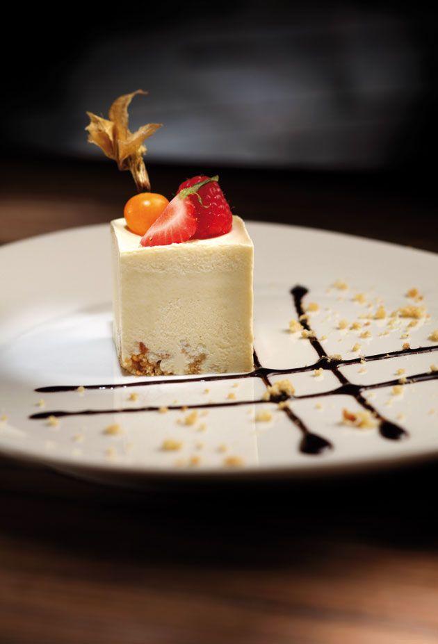 Frozen Amaretto Sabayon with Bitter Chocolate Sauce recipe #plating #presentation: