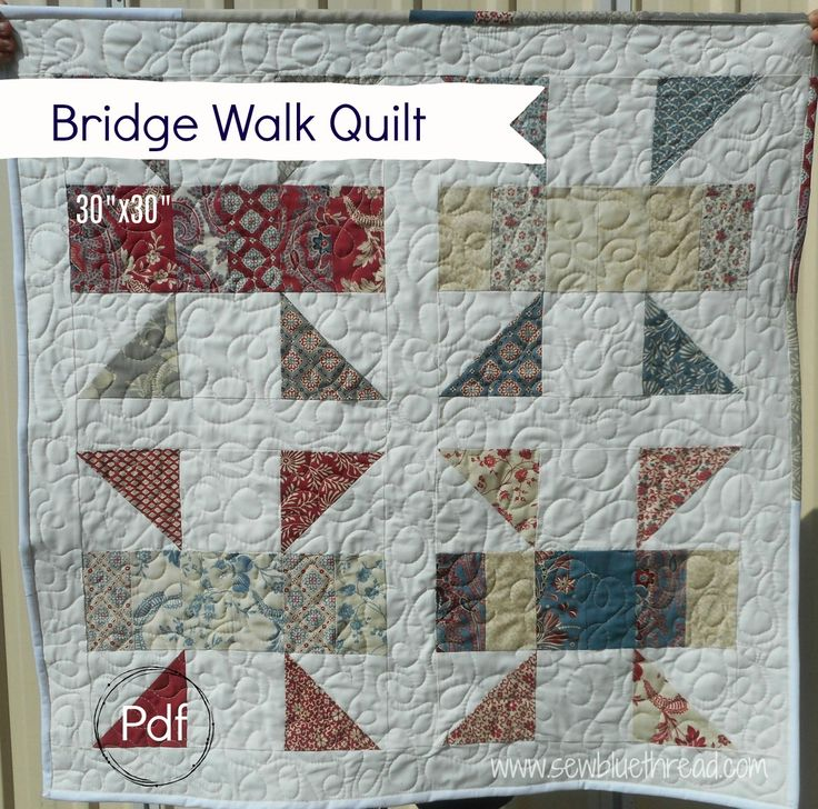 """'Bridge Walk' quilt.  Measures 30"""" x 30"""".  See website for details or check out my etsy shop 'sewbluethread'."""
