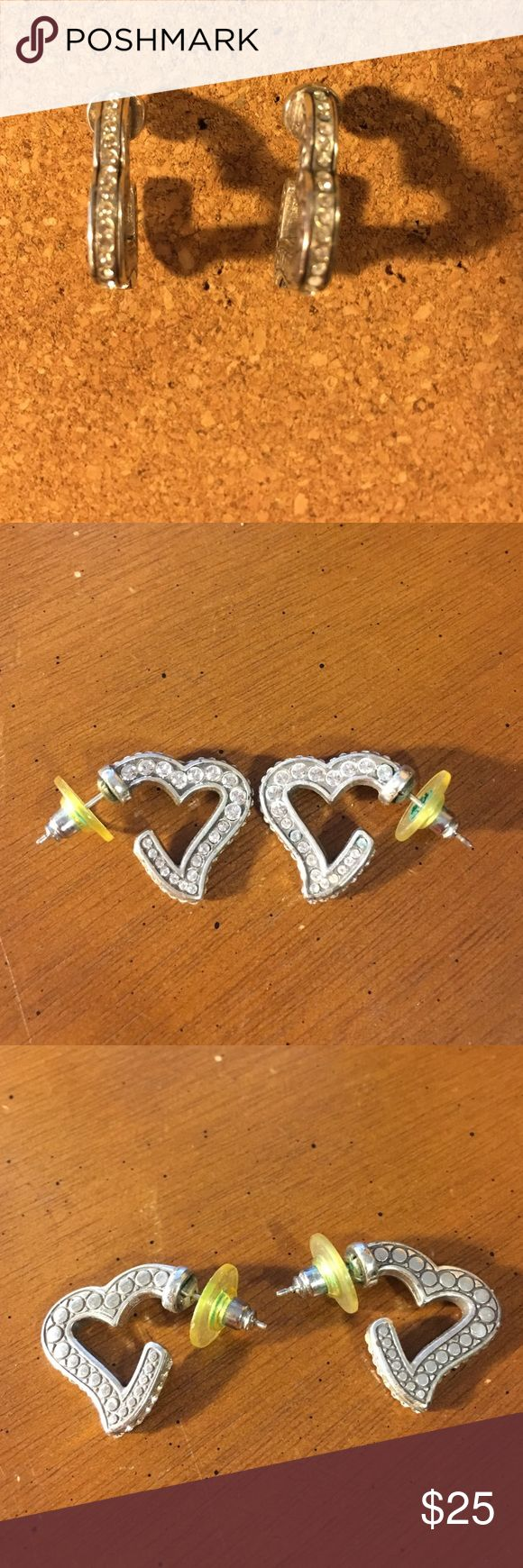 Brighton earrings Brighton sparkly or muted heart earrings.  Can be worn two ways (see pictures).  Excellent condition.  Only worn once. Brighton Jewelry Earrings