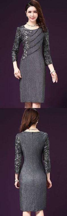 Women's Plus Size Casual/Daily Street chic Sheath Dress,Print Round Neck Knee-length 3/4 Length Sleeves Dress
