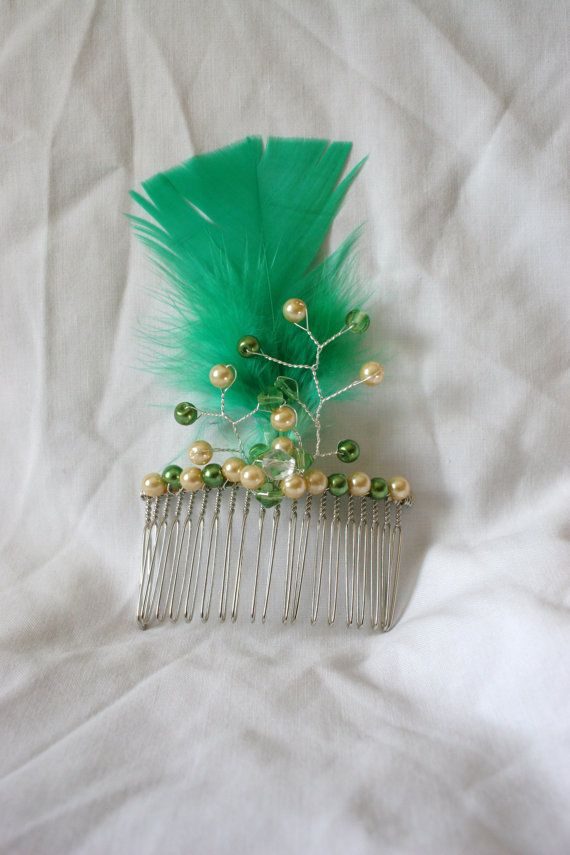 Green and Cream Pearl Hair Comb with Feather for Bride or Bridesmaid