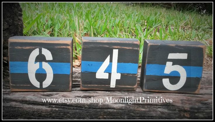 Police Badge Number Blocks, Police Wife, Thin Blue Line, Wooden Blocks, Law Enforcement, Police Officer by MoonlightPrimitives on Etsy https://www.etsy.com/listing/188065403/police-badge-number-blocks-police-wife