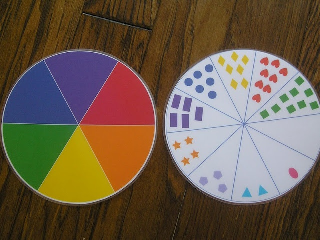 Color Wheel on one side and numbers on the other with clothes pins to match up