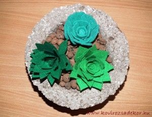 felt succulents in hypertufa pot