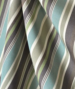 Sunbrella Brannon Whisper indoor / outdoor Fabric with light blue, grey, white, green and lavender stripes
