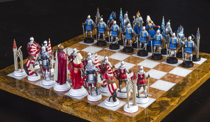 Handmade Tin Chess Set Hungarian   Hand Painted, Detailed Tinsel Pewter Chess  Sets. They