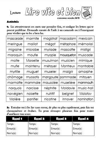 Fiche d'entraînement en lecture oralisée (marron) à personnaliser avec les mots des fiches de lecture par exemple...