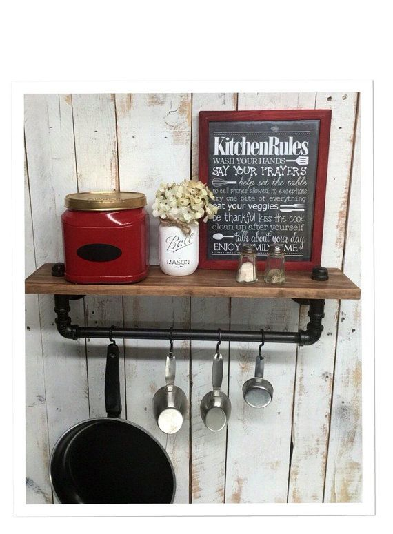 Attractive Industrial Kitchen Shelf, Rustic Kitchen Shelves, Black Iron Pipe, Wall  Hanging, Industrial Nice Design