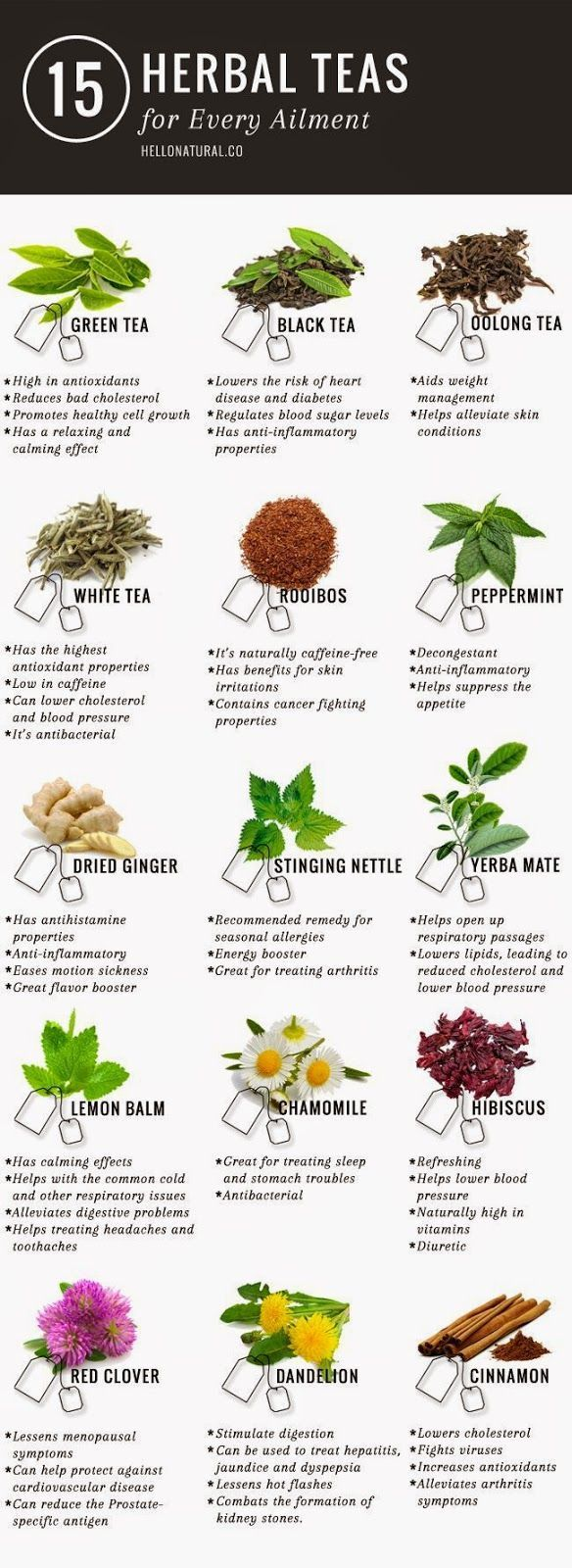 "Green tea is not the only tea with promising (and according to many sources, PROVEN) health benefits. This infographic illustrates and describes 14 other healing herbal teas. <a href=""http://www.detoxmetea.com"" rel=""nofollow"" target=""_blank"">www.detoxmetea.com</a> http://www.detoxmetea.comproducts/weight-loss-detox-tea-14-day-kick-starter-pack?utm_content=buffer84043&utm_medium=social&utm_source=pinterest.com&utm_campaign=buffer"
