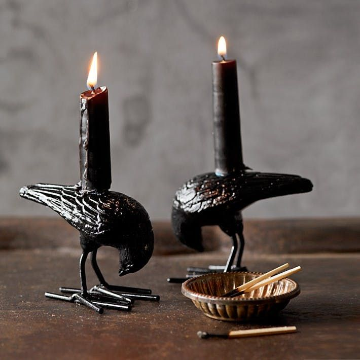 Halloween Raven Tiny Taper Holders from Williams-Sonoma — Faith's Daily Find 10.25.13