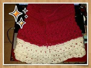 Après la longueur souhaitée coudre les bords en retournant la jupe (sur l'envers donc) ou faire une couture invisible avec un crochet  (crocheter des mailles serrées bord à bord)