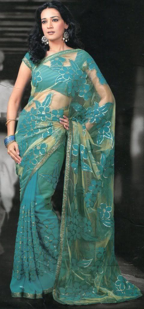New Teal Green Flower Print Designer Sari/ Saree